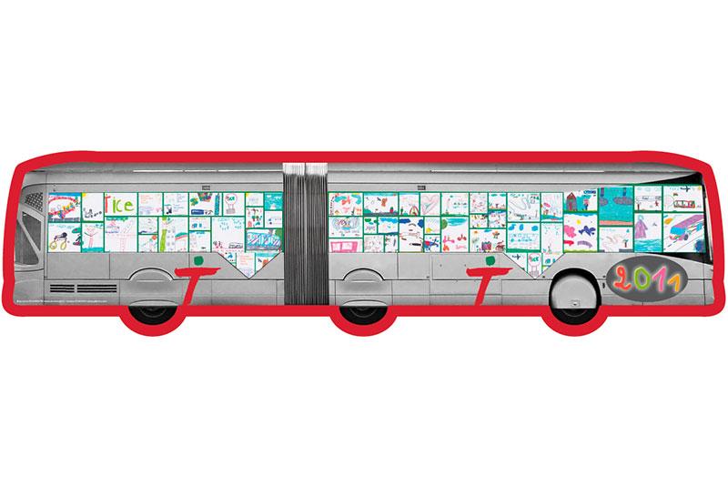 Carte de voeux découpé en forme de bus TICE