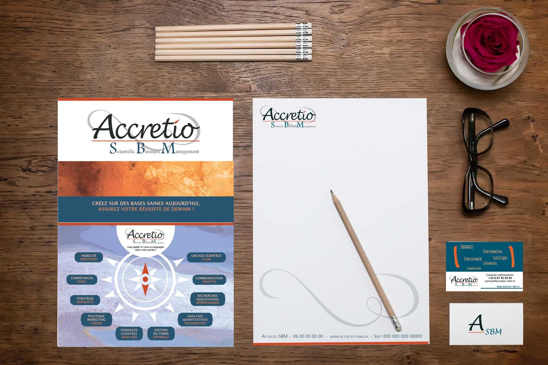Identité visuelle de ACCRETIO SBM : logo carte de visite et site web