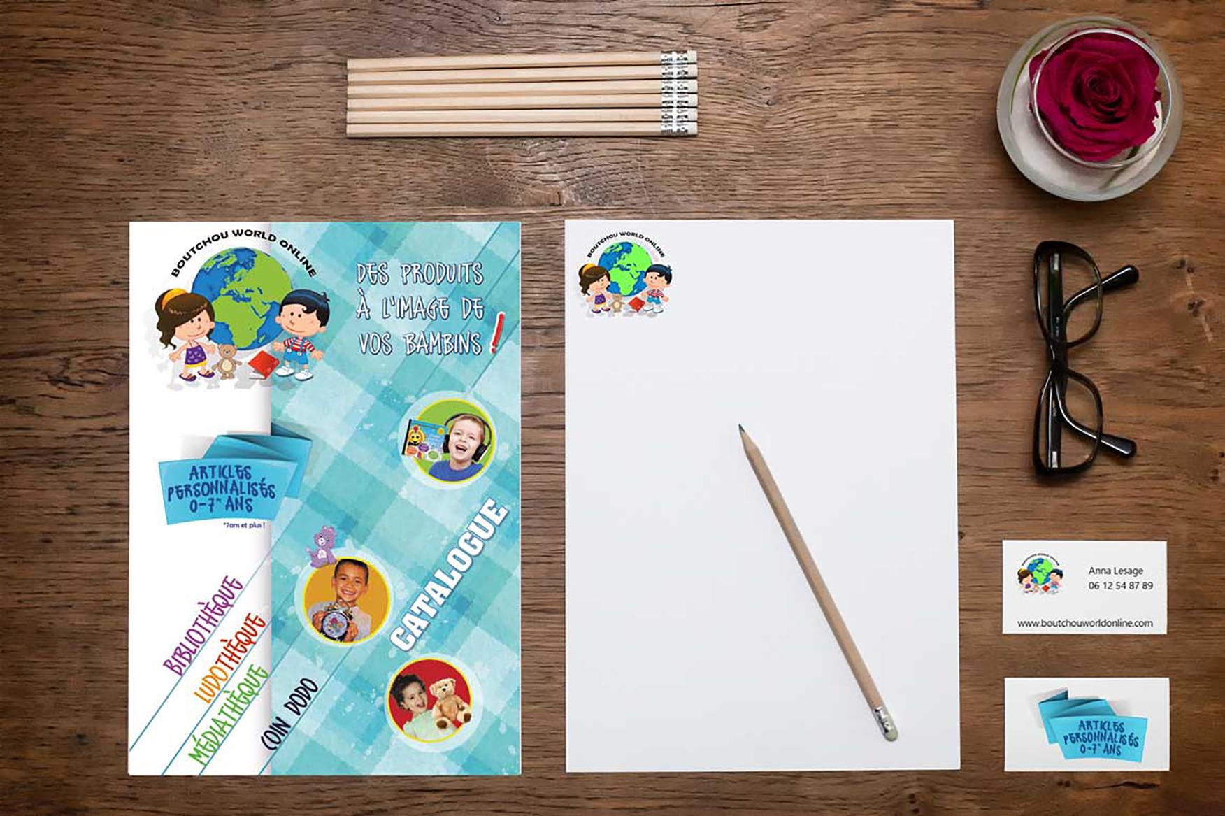 Identité visuelle de BOUTCHOUWORLDONLINE : logo, affiche, flyer, catalogue tarif, habillage site web