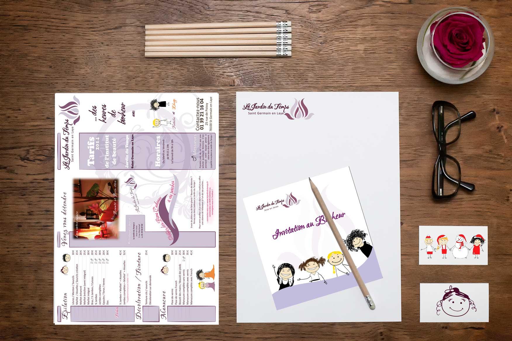 Identité visuelle du JARDIN DU TEMPS : logo, livret tarif, site web, affiche, carte cadeau, carte de fidélité